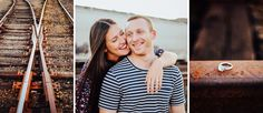 Kayley + Adam Engagement Pictures || Industrial NW Portland, OR || Engagement session posing and location ideas on train tracks || Portland, OR and San Diego, CA wedding photographer