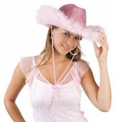 Cowboyhoed Roze Glitter & Roze Bont