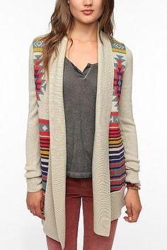 Cozy Fall attire featuring a ultra gray tee, burgandy skinny jeans & a Ecote Intarsia Cardigan.