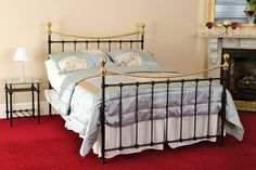 Celtic Beds most traditional bed is the Sneem Black with brass. The brass top rail succeeds in bringing the bed to life in any setting. Brass Bed, Old Beds, Four Poster Bed, Affordable Modern Furniture, Bed Base, Metal Beds, Bedding Shop, Bed Design, Contemporary Furniture