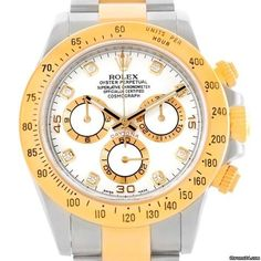Rolex Cosmograph Daytona Steel 18k Yellow Gold Diamond Watch 116523