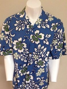 83deddd87 HILO HATTIE Hawaiian Shirt X-Large Blue Floral Theme Made in Hawaii XL  #HiloHattie