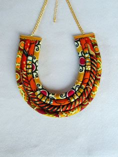 african wax print bib necklace orange and brown by nad205 on Etsy