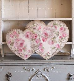 Romantic Shabby Chic Large Vintage Style Roses Heart available at www.debicoules.com
