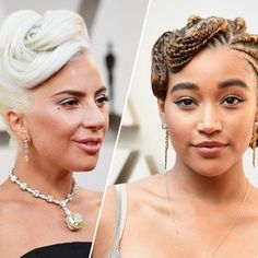 Perhaps our fave time of the year-- the #Oscars! So many lovely looks in 2019! What looks made you swoon? Find similar looks at mghairandmakeup.com and book a trial to try out some Hollywood glam! #Oscars #awardseason #lookswelove #hairandmakeup #mghairandmakeup  -  Three headshots sidebyside of stars at the Oscars incuding Lady Gaga with her whiteblonde hair piled in a updo Amandla...