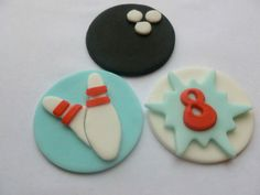 12 Edible Fondant Tenpin Bowling Cupcake Toppers by TheCakeTopCompany handmade in the UK - bowling balls, pins, personalised age