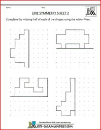 Line Symmetry Worksheet, 3rd grade printable geometry worksheets
