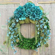 Front Door Summer Wreath  Summer Hydrangea Wreath Boxwood