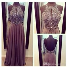 Evening Dresses 2015 Cheap Spaghetti Straps Crystal Beaded Sparkly Grey Long Chiffon Floor Length Backless Party Dress Formal Prom Gown 2014 Online with $139.27/Piece on Yes_mrs's Store   DHgate.com