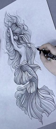 Drawing Mermaid Art New Ideas Kunst Tattoos, Body Art Tattoos, Sleeve Tattoos, Tattoo Sketches, Tattoo Drawings, Art Drawings, Drawing Art, Tattoo Art, Tattoo Quotes