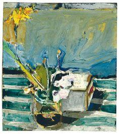 Richard Diebenkorn 1956    Richard Diebenkorn, Untitled (Still Life with Iris) (1956), oil on canvas, 39.6 x 45.1cm. Via Christie's.