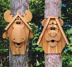 Moose & Bear Birdhouse Plans - Woodcraft Patterns made from cedar. Birds find these houses and nest without a problem. Fun to watch them fly in and out of the mouth.