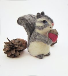 Felted Woodland Squirrel Christmas Ornament Grey  White with Red Acorn Animal Decoration
