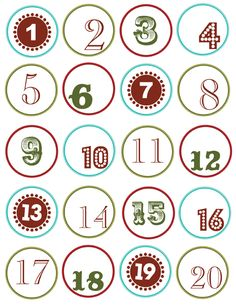 a couple of printables for numbers for advent calendars