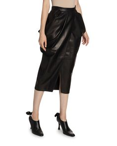 Proenza Schouler Tulip Below-the-knee Skirt In Black Below The Knee Skirt, Tulip Skirt, Lambskin Leather, Proenza Schouler, Leather Fashion, World Of Fashion, Leather Skirt, Your Style, Luxury Fashion