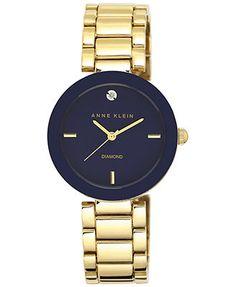 Anne Klein Women's Diamond Accent Gold-Tone Bracelet Watch 32mm AK-1510NVGB