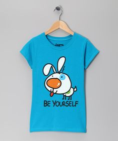Take a look at this Turquoise 'Be Yourself' Tee - Girls by Request Jeans, Antique Rivet & Inkbone on #zulily today!