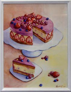 Тортик акварелью 30х40 см. Может служить как самостоятельным предметом для декора интерьера,   так же и частью  триптиха  на кондитерскую тематику