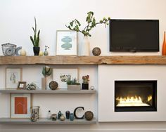 Fireplace Wall with Barn Beam Mantel