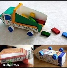 Milk carton truck / Recycled kids crafts