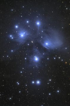"""The Pleiades (M45) also called """"The Seven Sisters"""". This is a wonderful bluish reflection #nebula (it reflects the light of near stars). It is clearly visible from moderately light polluted skies.  More info about this beautiful nebula: http://bluejourneyastro.altervista.org    #pleiades #astrophotography #deepsky #milkyway #space #telescope"""