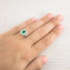 Image of .75 Carat Emerald Art Deco Tiffany & Co. Engagement Ring