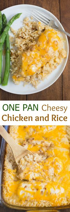 healthy food recipes chiken dinner cooking My family loves this easy One Pan Cheesy Chicken and Rice casserole. Just a few short minutes to throw together and let the oven do the rest.