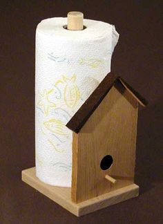 Paper Towel Holder ~-> might alter birdhouse front, but need on. Also shorten for use in bathroom, or leave unaltered so spare roll(s) readily available. Paper Towel Holder, Towel Holders, Kitchen Paper Towel, Birdhouse Craft, Ideas Hogar, Wood Crafts, Diy Crafts, Wooden Kitchen, Paper Decorations