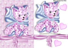LOVE KITTY IN STAR FRAME WITH HEARTS AND BOW, Makes a pretty card, just add some sparkle