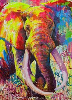 .. Scatterings ... Arte Elemental, Tableau Pop Art, Pop Art Wallpaper, Abstract Animals, Thai Art, Elephant Art, Arte Pop, Art Abstrait, Wildlife Art