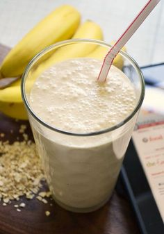Peanut Butter and Banana Oatmeal to go! Break 1 ripe banana into a blender with 1 cup plain yogurt, 2 Tbsp. peanut butter, 1/2 cup milk, 1/4 cup quick-cooking oats and a squirt of honey to taste. (Quick or instant oats will more easily puree into the mix.)