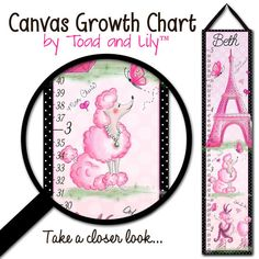Canvas GROWTH CHART Ooh Lala Paris Poodle Eiffel Tower Girls Bedroom Baby Nursery Wall Art