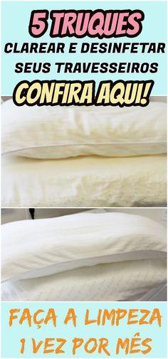 Os travesseiros são um dos artigos da casa que precisam de um cuidado especial para serem conservados em condições higiênicas e aptas para seu uso.  #travesseiros #limpeza #clarear #desinfetar #casa #cama #quarto #dicas #receita #saude #limpar #mensal
