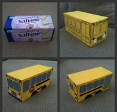 School bus made out of a cracker box to use in the towns that are built in the block center