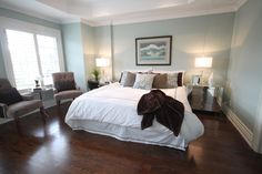 Gorgeous guest bedroom.  Walls are Silver Marlin 2139-50 (BM).