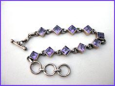 Vintage Amethyst Sterling Silver Bracelet by FemmeFataleFinery, $35.00