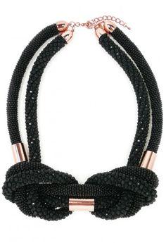Black Crystal Knot & Copper Necklace  via bloodglitterlustxx via Myan Duong
