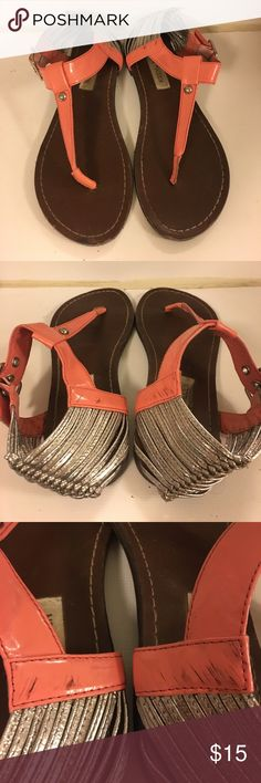 Steve Madden sandals Super cute bright coral Steve Madden sandals. Worn a few times but overall in good condition. Some little black scuffs on the sides (shown in 3rd pic) but barely noticeable. Soles in good shape! Size 8 Steve Madden Shoes Sandals