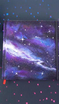 Canvas Art Projects, Diy Canvas Art, Acrylic Painting Canvas, Rock Painting, Galaxy Painting, Galaxy Art, Sketchbook Cover, Custom Sketchbook, Galaxy Drawings