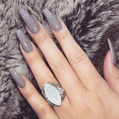 ☆ Pin Bellaxlovee ☆ - Aycrlic Nails, Gray Nails, Hair And Nails, Cute Acrylic Nails, Acrylic Nail Designs, Cute Nails, Ballerina Nails, Nagel Gel, Winter Nails