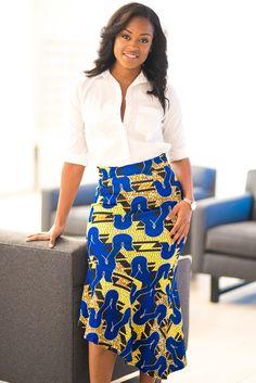 000925897a Blue Yellow African Print Stretch Pencil Midi Skirt •Dropship bottoms