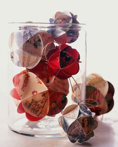 These ornamental balls are made from holiday cards from Christmases past.