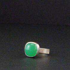 Chrysoprase Ring Silver Metalwork Gemstone Jewelry by khmetalwork, $173.00