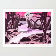 Buy Japanese Garden  Art Print by Nick's Emporium . Worldwide shipping available at Society6.com. Just one of millions of high quality products available.