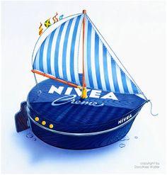 #NIVEA #Boot #Sailing Advertising History, Vintage Advertising Posters, Vintage Advertisements, Ads, Perfume, Fun Stuff, Sailing, Graphics, Retro