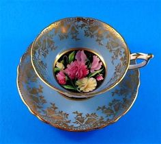 Antique Rossel Black Gold Cup & Saucer Three Footed Iridescent Flowers Urn • CAD…
