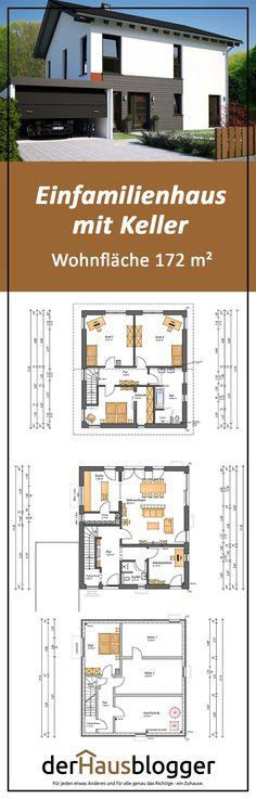 Dieses moderne Satteldachhaus mit einer Wohnfläche von gut 172 m²  habe ich zusammen mit einer Familie geplant, die von Kassel zu den Großeltern nach Berlin ziehen wollte. Mehr über diesen schönen und durchdachten Hausentwurf  erfahren Sie hier. #architektenhaus #hausbau #grundriss
