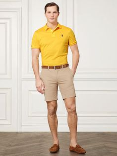 Buy Ralph Lauren Purple Label Men's Yellow Custom-fit Piqué Polo Shirt, starting at Similar products also available. SALE now on! White Polo Shirt Outfit, Polo Shirt Outfits, Mens Polo T Shirts, Golf T Shirts, Mens Casual Dress Outfits, Summer Outfits Men, Short Outfits, Stylish Men, Men Casual