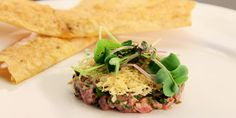 Canadian Beef Tartare on a Whole Wheat Cracker