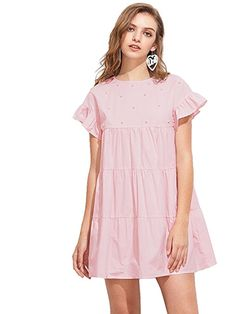 Milumia Women's Bow Tie Back Frill Sleeve Embroidered Striped Babydoll Dress (X-Small, Pink)